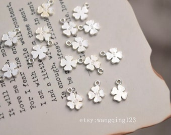20 pcs tiny sterling silver clover tag charm GS1