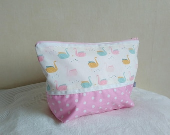 Toiletry girl pastel pink and white patterns swans origami, coated cotton toiletry pink polka dot