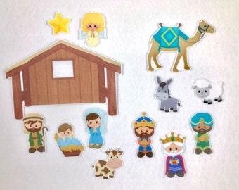 Nativity Felt Story Board - Flannel Board - Sunday School Activity - Children's Gift - Christmas Activity - Bible Stories - Baby Jesus