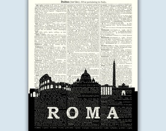 Rome Italy Skyline, Rome Cityscape, Rome Italy Decor, Rome Home Decor, Rome Italy Print, Rome Wall Decor, Rome Italy Art