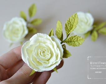 Ivory rose hair clip Rose hair hair accessories for women Wedding Hair clips Bridal Hair Piece ivory wedding Flower girl gift Bridal hair