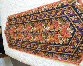 Fall Table Runner, Quilted Table Runner, Fall Leaves, Vibrant Colors