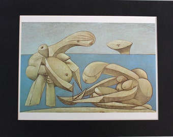 BATHERS With TOY BOAT Fine Art Print by Picasso - Mounted Print Painting Painter Artist Art Surrealism Spanish Art Modernist Cubism Modern