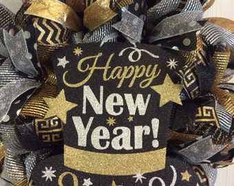 New Year Wreath-New Year's Eve Wreath- Mesh Wreath-New Year's Eve Mesh Wreath-New Year's Mesh Wreath