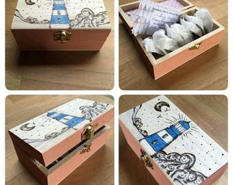 Tea gift. Nautical Teabox with 10 green tea, blend teabags. Handcrafted wooden box, wood burned lighthouse design. Hand blended tea gift.
