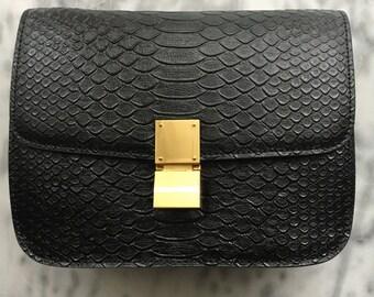PYTHON BOX BAG Black Embossed Leather Box Bag