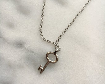 Mini Dainty Silver KEY Pendant Necklace