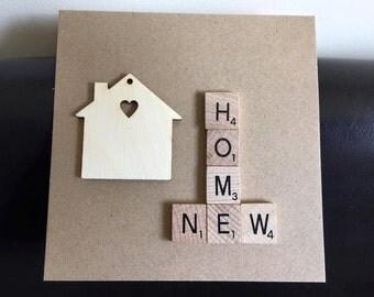 New Home Scrabble tile card