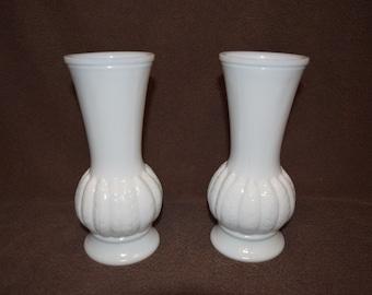 Two Large Randall Milk Glass Vases