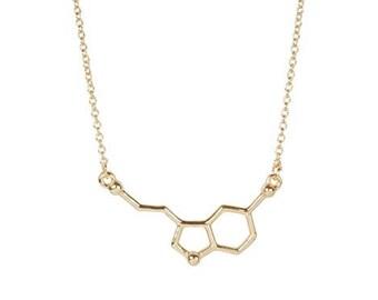 Serotonin Necklace - Serotonin Jewelry - Gold Serotonin Molecule Necklace - Gold Serotonin Necklace - Chemistry Jewelry