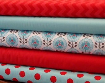 Riley Blake Red and Aqua Fabric Bundle