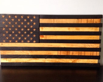 """Wooden American Flag  Reclaimed Wood Burned Distressed Hand Carved Stars Subdued Battle Flag 13"""" X 25"""""""