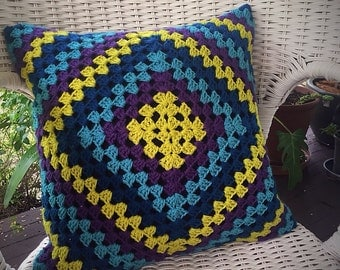 Crochet Granny Square Cushion