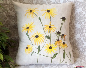 Pillow Cover 18x18/Hand-painted/ Nature/Indoor/Outdoor/Pillows/Seasonal Decorations/Spring Decorations/ Patio/ Garden/Spring/Decorative