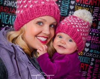 Matching Mom and Baby Hats, Mommy and Me Pom Hats, Mommy and Me, Mommy Daughter Hats, Baby Pom Pom Beanie, Chunky Knit Pom, Baby Beanie Pom