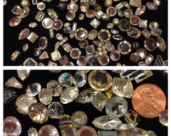 Loose Clear Small Antique Glass Rhinestones about 100 pc from 1920's