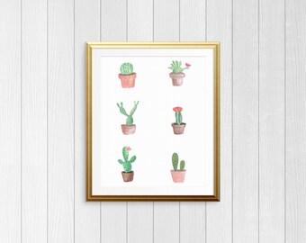 Watercolor Cactus Print | Instant Digital Download