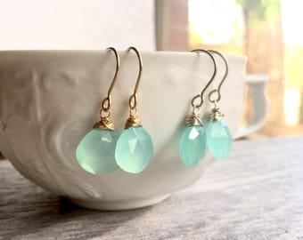 Aqua Chalcedony Earrings, Chalcedony Drops, Gemstone Drops, Aqua Earrings, Luscious Drop Earrings, Gender Reveal Gift for Baby Boy Mom Gift