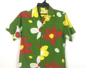 Very stylo vintage 60's hawaiian shirt SURF LINE HAWAII big flower M size horizontal button perfect condition