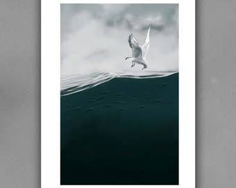 PRINTABLE art print, Home Decor, Wall art, illustration, Seascape with seagull