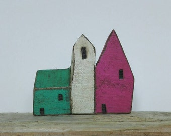 Rainbow folk art coastal town houses. Seaside village. Little wooden houses. Cornish cottages. New home gift. Hand crafted UK seller