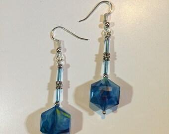 Blue Hexagonal Crystal Eaarings