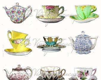 Clipart Teacups & Tea Pots, 9 Digital Images for Instant Download, PDF and JPG