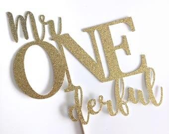Mr Onederful Cake Topper, Mr Wonderful First Birthday Party, Boys 1st Birthday Decorations, Decor, Cake Smash Theme
