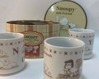 Snoopy & Friend Ltd Edition Tin with 3 Mugs Peppermint Patty Marcie Charlie Brown Peanuts Characters Cups Special Tin Green Tea Style Cups