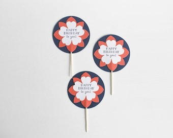 Floral Coral Cupcake Toppers (set of 12) / Navy and Coral / Cupcake Toppers / Floral Cupcake Toppers