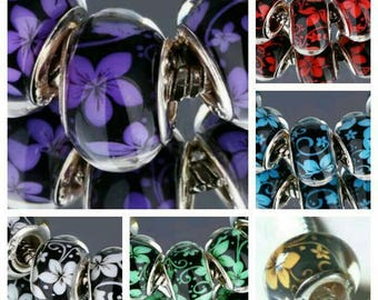 5x European beads large hole flower charms bracelet big euro focal brown black red blue purple green white troll 925 grommets necklace UK