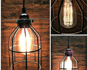 Sale! Cool Black Cage Pendant Light - Industrial - Steampunk - Twisted Wire - Edison Bulb