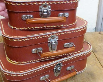 Set of 3 Toy Suitcases - Vintage Doll's Suitcases - (stock #6459)