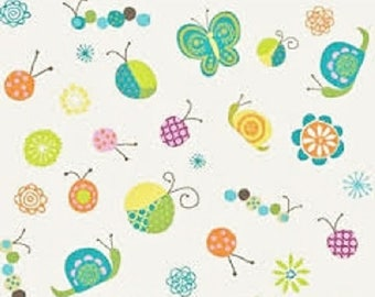 "Riley Blake designs - ""Happier White""  Bugs   Cotton Fabric   Remnant"