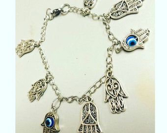 Evil eye charm bracelet, evil eye charms, positivity, good luck charm,