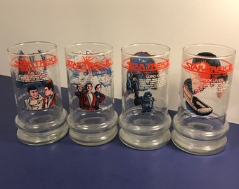 STAR TREK GLASSES set vintage 1984 Taco Bell tall cup collectible Spock Lives Enterprise destroyed Lord Kruge Klingon Fal-Tor-Pan Rare