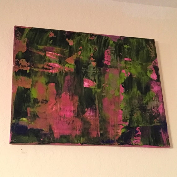Mixed Media Original Abstract Painting 16 x 24 'Secrets Beneath'