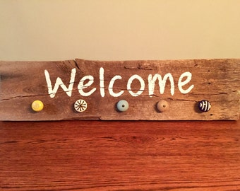 Welcome Sign, Coat Rack, Wall Decor, Wood Sign, Barn Wood Sign