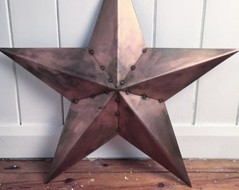Barn Star - Steel Vintage Retro Barn Star / Rusted / Aged Copper / White / Bare Steel