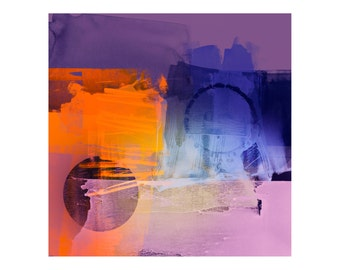 Violet & Orange Abstract Art Print - Large Wall Art For Modern Interiors, Home Furnishing, Professional Giclee Prints