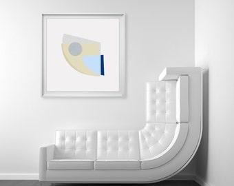 Blue Beige Abstract Art Print - fish art, large abstract art, pale blue colour, abstract fish, geometric shapes, modern art, home decor,