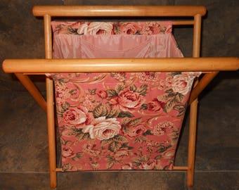 Vintage Folding Pink Floral Storage Bag