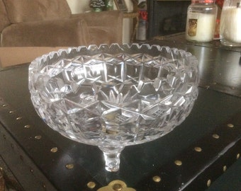 Large Cut Glass Footed Bowl