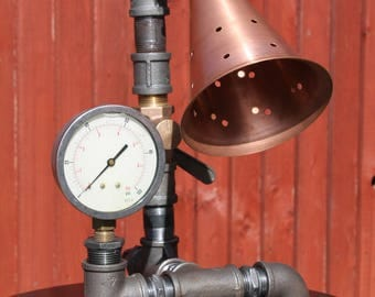 Steampunk Industrial Pipe lamp with Copper shade.