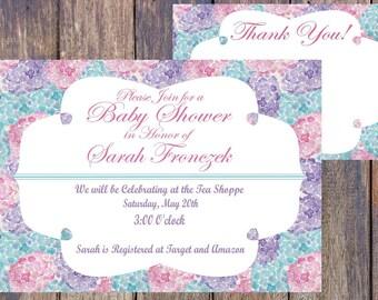 Baby Shower Invitation - Floral - Pink Blue Purple - Printable