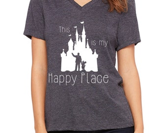 Disney Shirts Womens This is my Happy Place shirt Disneyland Shirt Disney World Shirt Disney Cruise Shirt Walt and Mickey Castle Shirt