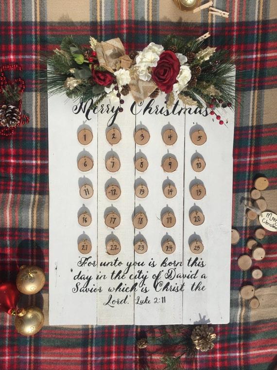 Advent Calendar- Christmas Advent- Christmas Countdown- Christmas Gift- Advent Countdown- Christmas Traditions- Holiday Calendar-Advent Wood