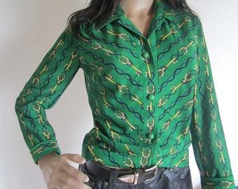Vintage 60s Jersey Ilany blouse blouse S