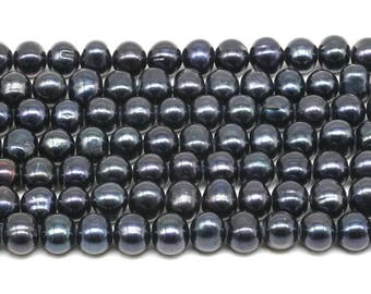 7-8mm black pearls, freshwater potato pearls, genuine fresh water cultured pearl beads, large hole available, full strand, FQ690-BS