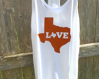 Ladies Texas Love White Tank Top in UT Colors Size Large 12-14